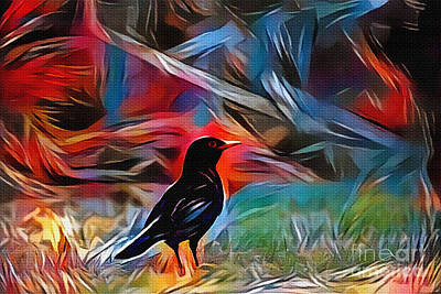 Digital Art - Blackbird Art by Kaye Menner