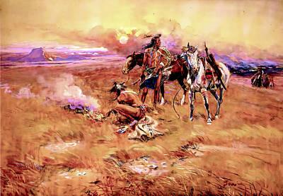Digital Art - Blackfeet Burning Crow Buffalo Range by Charles Russell