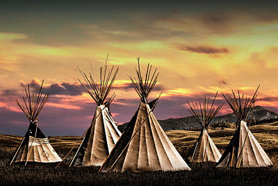 Photograph - Blackfoot Indian Tepee Camp by Randall Nyhof