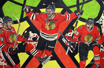 Drawing - Blackhawks Authentic Fan Limited Edition Piece by Melissa Jacobsen