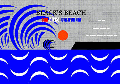 Royalty-Free and Rights-Managed Images - Blacks Beach California surfing art by David Lee Thompson