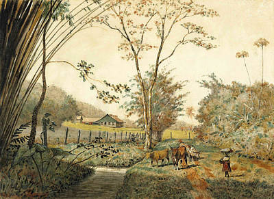 Drawing - Blanchisseuse And Cattle On A Cocoa Estate by Michel Jean Cazabon