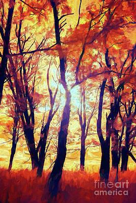 Painting - Blazing Fall Colors In The Blue Ridge Ap by Dan Carmichael