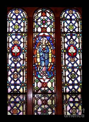 Photograph - Blessed Virgin Mary Stained Glass Window At Benedictine Monastery by Rose Santuci-Sofranko