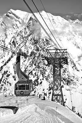 Photograph - Blie Snowbird Tram Car Portrait Black And White by Adam Jewell