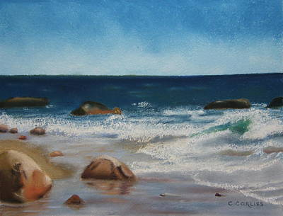 Pastel - Block Island Surf by Carol Corliss