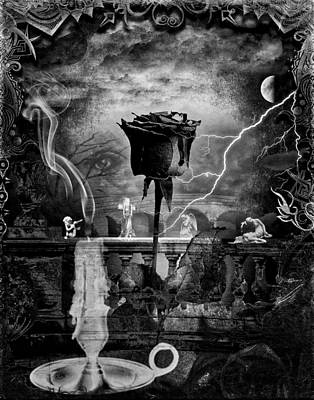 Digital Art - Blood Rose Bw by Michael Damiani