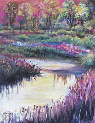 Pastel - Blooming Along The Bank by Jean Batzell Fitzgerald