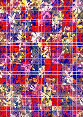 Keith Richards - Blooming Flower With Square Pattern Abstract In Red And Blue by Tim LA