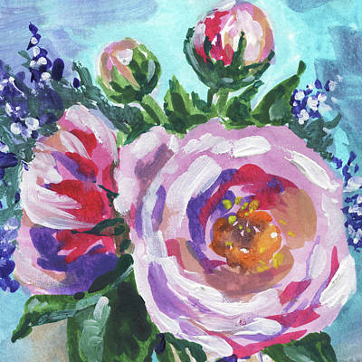 Painting - Blooming Flowers Bouquet Floral Impressionism  by Irina Sztukowski