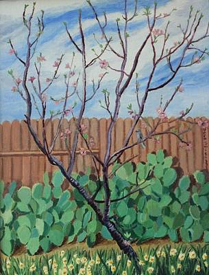 Painting - Blooming Peach In Our San Antonio Backyard by Vera Smith