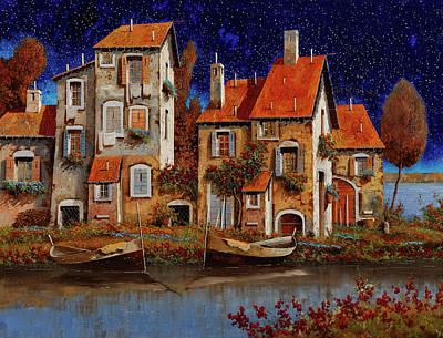 Train Paintings Rights Managed Images - Blu Notte Royalty-Free Image by Guido Borelli