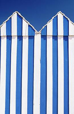Photograph - Blue & White Striped Beach Huts by Travel Ink