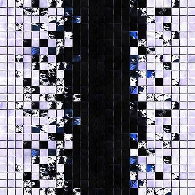 Digital Art - Blue Accent Black And White Square Tiled Ceramic Mosaic Pattern  by Taiche Acrylic Art