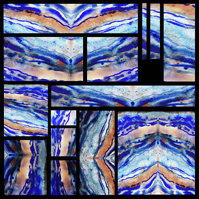 Painting - Blue Agate Mosaic Watercolor Collage by Irina Sztukowski