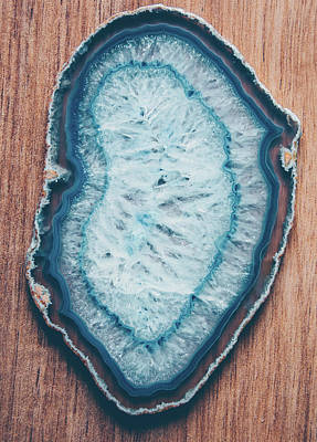 Photograph - Blue Agate #woodbackground by Andrea Anderegg