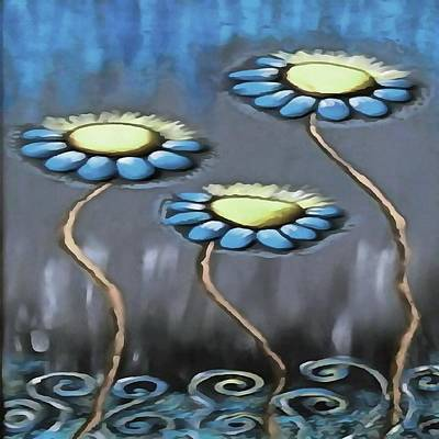 Painting - Blue And Gray Cheerful Childlike Spring Daisies by Taiche Acrylic Art