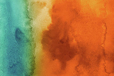 Photograph - Blue And Orange Background Abstraction by Samxmeg