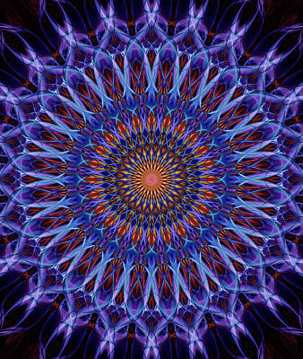 Digital Art - Blue And Orange Mandala by Jaroslaw Blaminsky