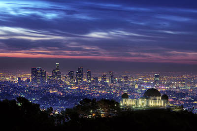 Photograph - Blue And Pink Los Angeles At Sunrise by Aaron Kiely