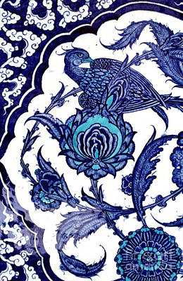 Ceramic Art - Blue And White Ceramic Tile Detail With Bird And Floral Pattern From Topkapi Palace by Turkish School