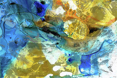 Painting - Blue And Yellow Abstract Art - Blue River - Sharon Cummings by Sharon Cummings