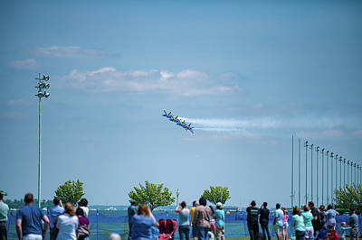 Photograph - Blue Angels Above Crowds by Mark Duehmig