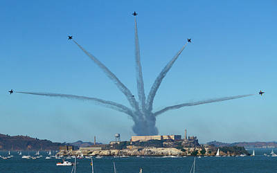 Photograph - Blue Angels Finale Over Alcatraz by Bonnie Follett