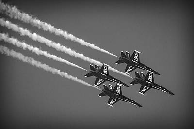 Photograph - Blue Angels Four On The Floor B W by Bonnie Follett