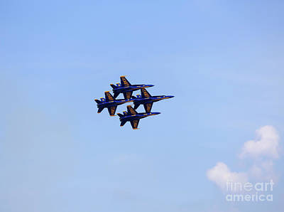 Photograph - Blue Angels In Diamond Formation At Cleveland Air Show 2018 by Louise Heusinkveld