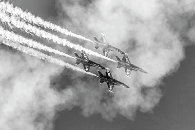 Photograph - Blue Angels In The Clouds B W by Bonnie Follett