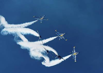 Photograph - Blue Angels Loop Break Cross by Chris Buff