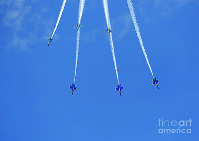 Photograph - Blue Angels Performing Maneuvers From The Delta Formation At The by Louise Heusinkveld