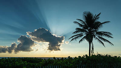 Photograph - Blue Beam Sunrise Delray Beach Florida by Lawrence S Richardson Jr