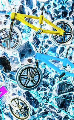 Pop Art Royalty-Free and Rights-Managed Images - Blue bike background by Jorgo Photography - Wall Art Gallery