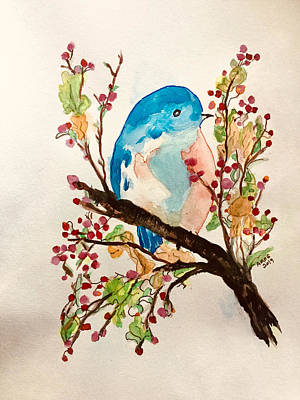 Painting - Blue Bird by Aingeal Rose
