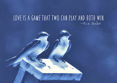 Photograph - Blue Birds Quotes by JAMART Photography
