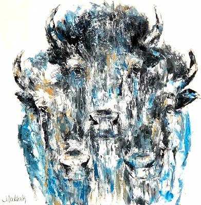 Painting - Blue Bison by Jennifer Morrison Godshalk