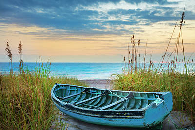 Photograph - Blue Boat At Dawn by Debra and Dave Vanderlaan
