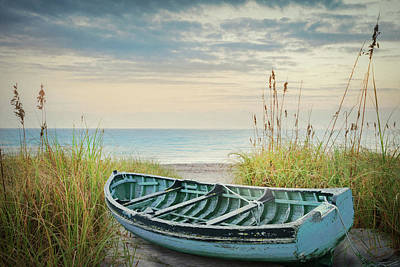 Photograph - Blue Boat On A Misty Morn by Debra and Dave Vanderlaan
