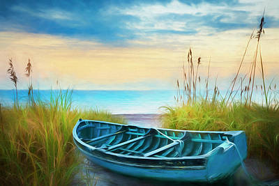 Photograph - Blue Boat Softly Watercolored by Debra and Dave Vanderlaan