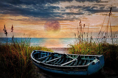 Photograph - Blue Boat Under The Full Moon by Debra and Dave Vanderlaan