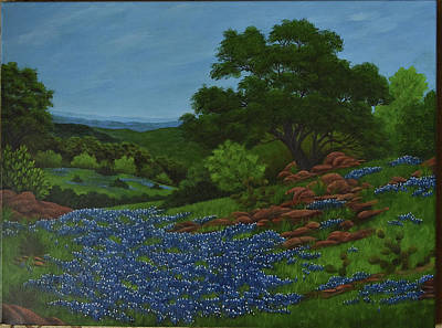 Painting - Blue Bonnets by Gloria Johnson