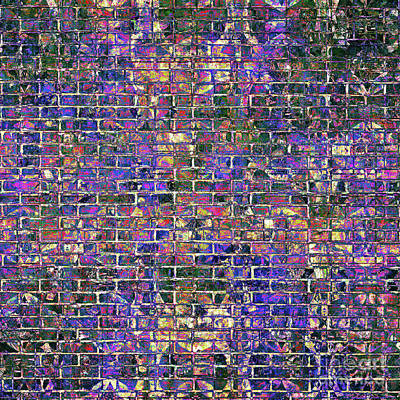 Digital Art - Blue Brick Grunge Wall  by John Groves