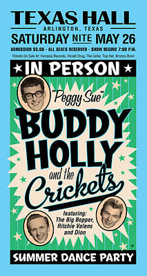 Digital Art - Blue Buddy Holly by Gary Grayson