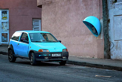 Photograph - Blue Car by Tom Singleton