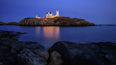 Photograph - Blue Christmas, Nubble Lighthouse by Michael Hubley