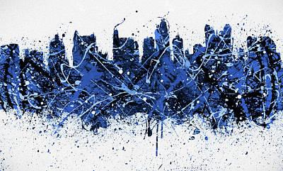 Painting - Blue Columbus Skyline Splatter by Dan Sproul