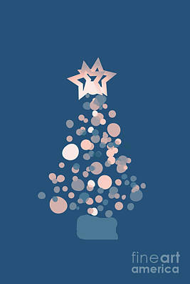 Digital Art - Blue Confetti Christmas Tree  by Rachel Hannah