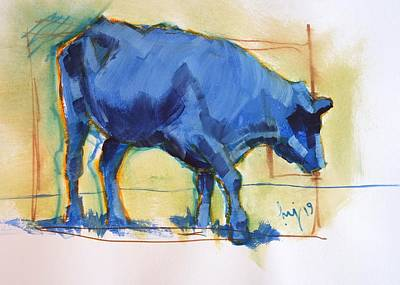 Painting - Blue Cow Steer Painting by Mike Jory